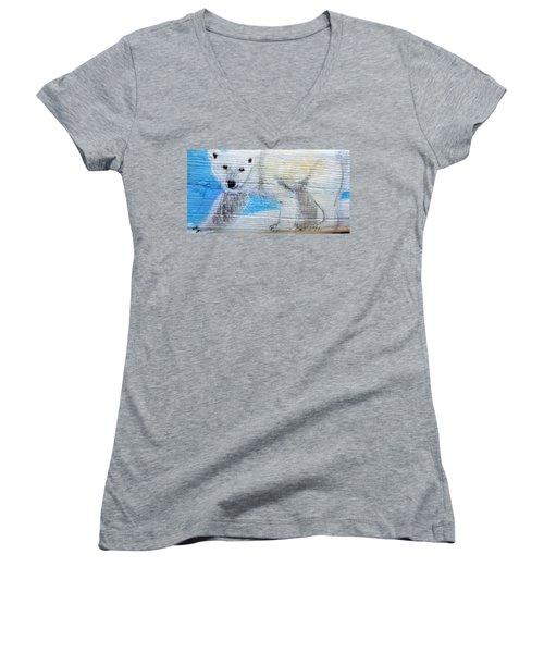 On Thin Ice Women's V-Neck T-Shirt (Junior Cut) by Ann Michelle Swadener