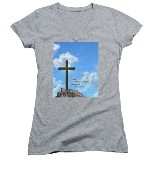 On This Rock I Will Build My Church Women's V-Neck