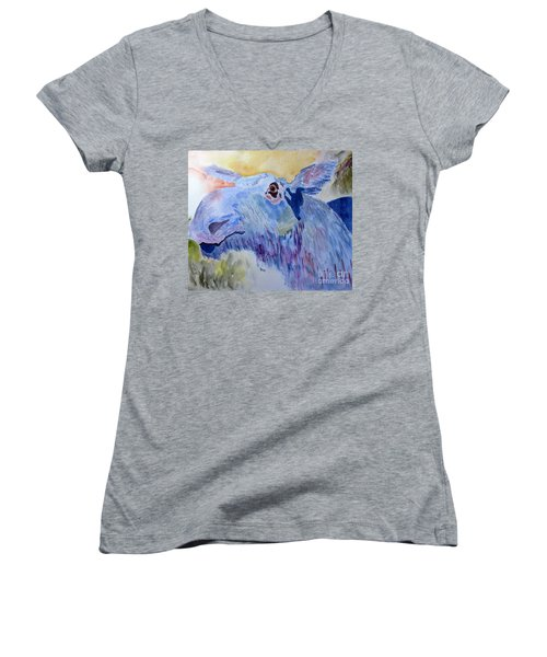 Once In A Blue Moose Women's V-Neck T-Shirt (Junior Cut) by Sandy McIntire