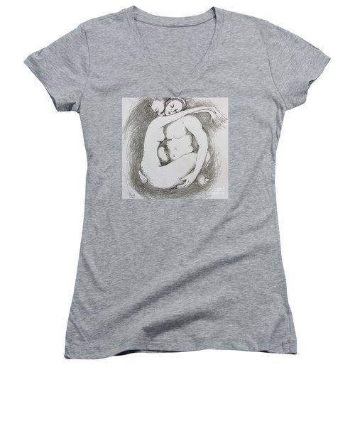 Women's V-Neck T-Shirt (Junior Cut) featuring the drawing Once Lovers by Marat Essex