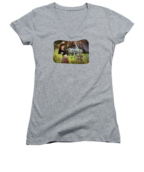 Once Upon A Meadow Women's V-Neck (Athletic Fit)