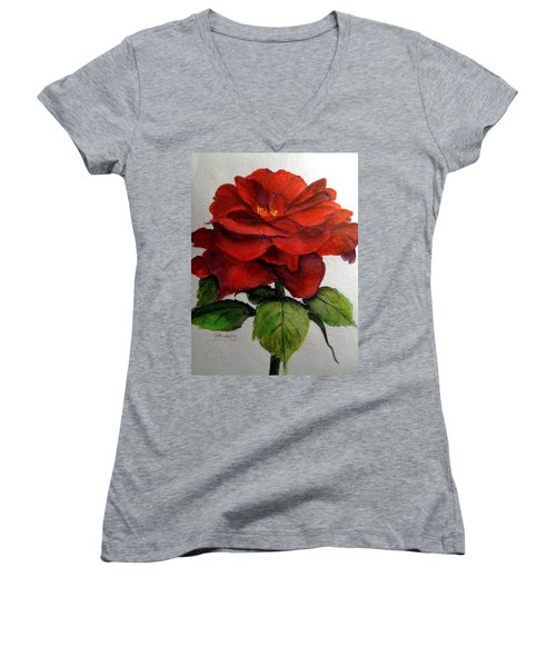 One Beautiful Rose Women's V-Neck T-Shirt (Junior Cut) by Carol Grimes