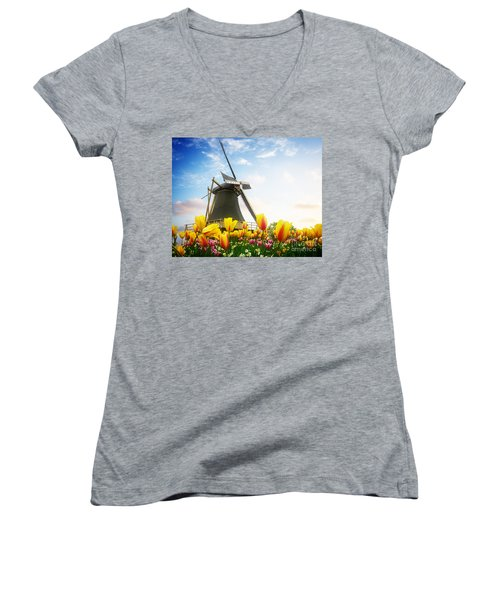 One Dutch Windmill Over  Tulips Women's V-Neck (Athletic Fit)