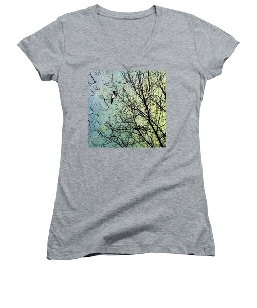 One For Sorrow #nurseryrhyme Women's V-Neck T-Shirt (Junior Cut) by John Edwards