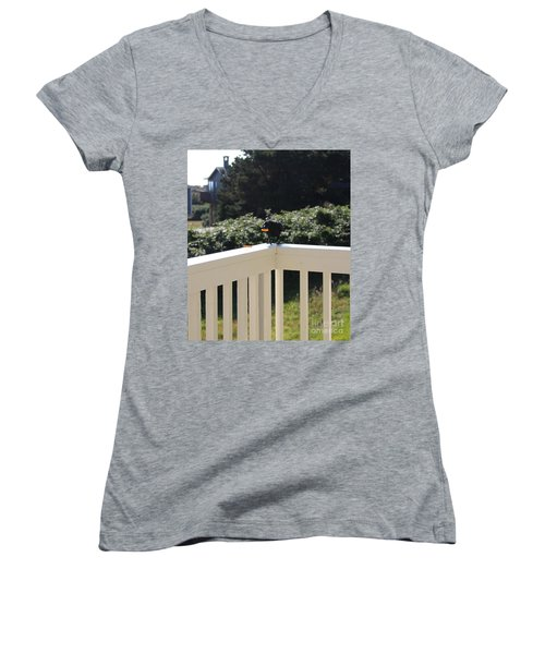 Women's V-Neck T-Shirt featuring the photograph One In The Mouth Is Worth by Marie Neder