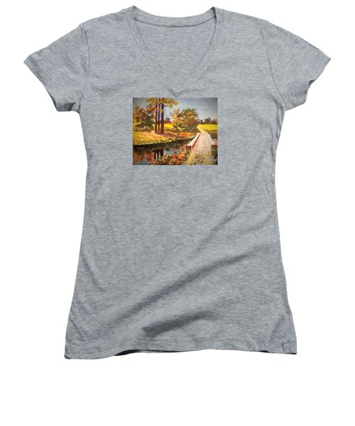 Women's V-Neck T-Shirt (Junior Cut) featuring the painting One Lane Bridge by Jim Phillips