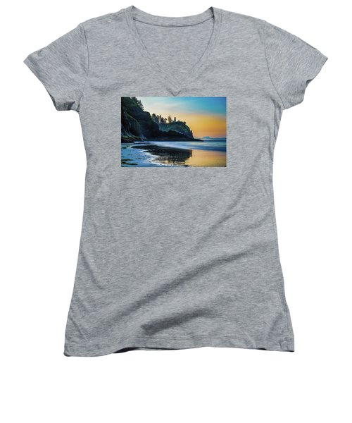 One Morning At The Beach Women's V-Neck T-Shirt (Junior Cut) by Ken Stanback