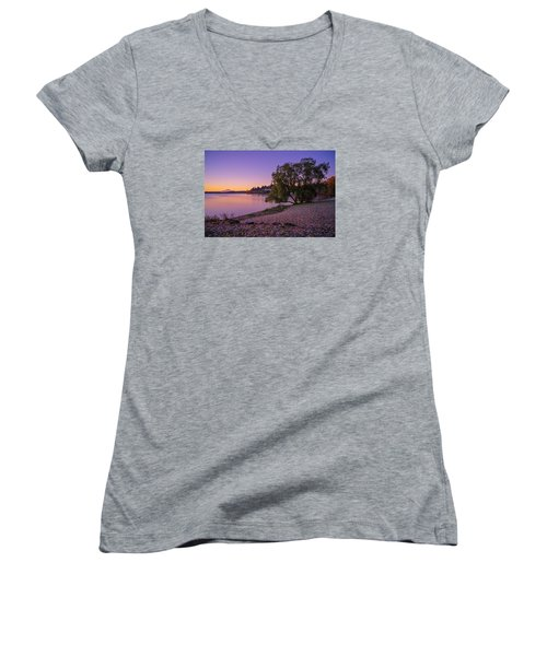 One Morning At The Lake Women's V-Neck T-Shirt (Junior Cut) by Ken Stanback