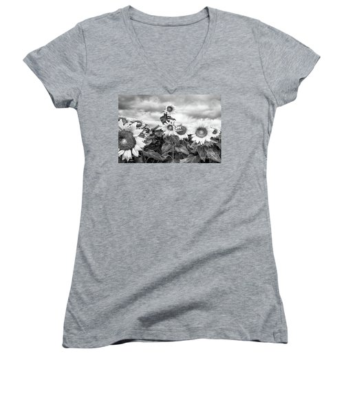 One Stands Tall Women's V-Neck T-Shirt (Junior Cut) by Jim Rossol