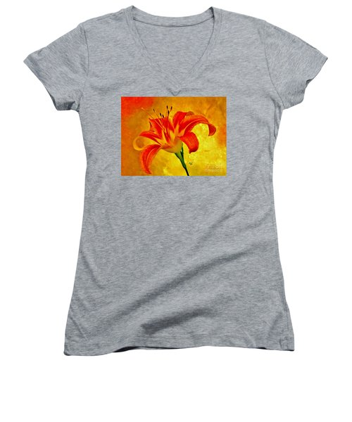 One Tigerlily Women's V-Neck T-Shirt (Junior Cut) by Marsha Heiken