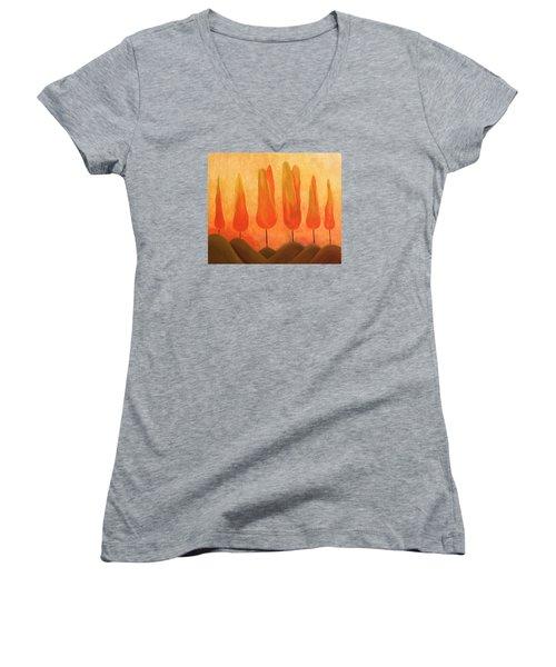 Women's V-Neck T-Shirt (Junior Cut) featuring the painting One Treeperhill by John Stuart Webbstock