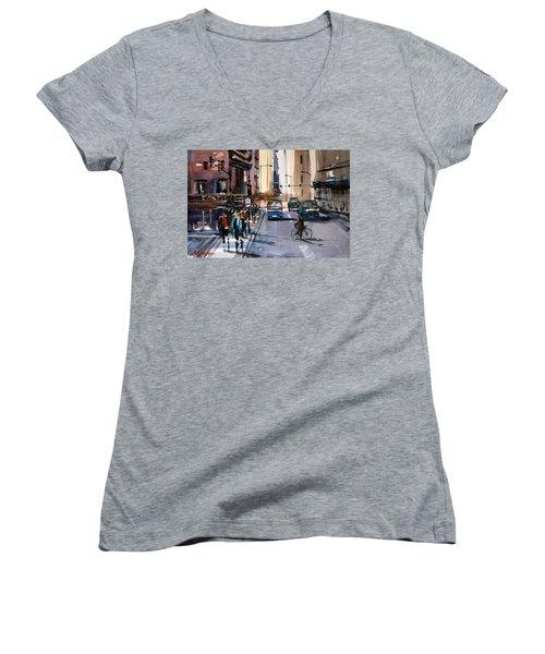 One Way Street - Chicago Women's V-Neck T-Shirt (Junior Cut) by Ryan Radke