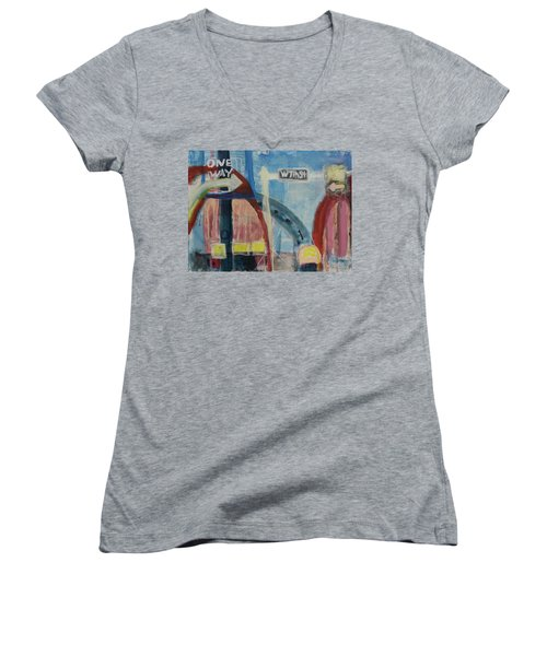 Women's V-Neck T-Shirt (Junior Cut) featuring the painting One Way To 7th Street by Susan Stone