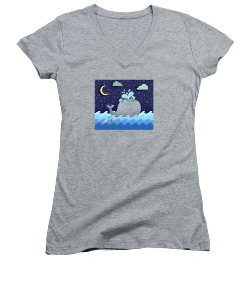 One Wonderful Whale With Fabulous Fishy Friends Women's V-Neck T-Shirt
