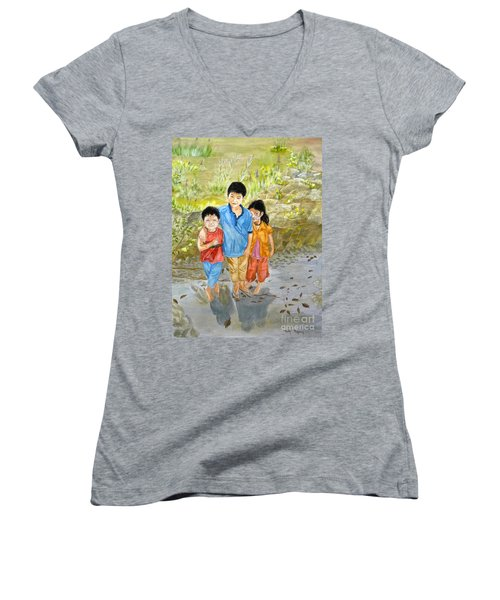 Women's V-Neck T-Shirt (Junior Cut) featuring the painting Onion Farm Children Bali Indonesia by Melly Terpening