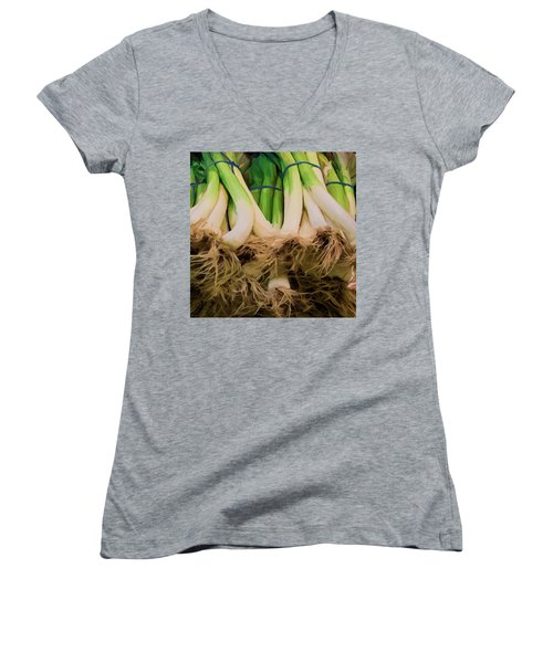 Onions 02 Women's V-Neck T-Shirt (Junior Cut) by Wally Hampton