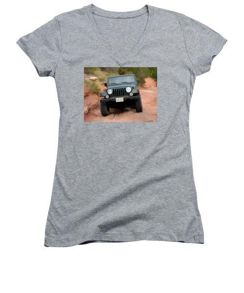 Only Jeeps Here Women's V-Neck T-Shirt (Junior Cut) by Gary Baird