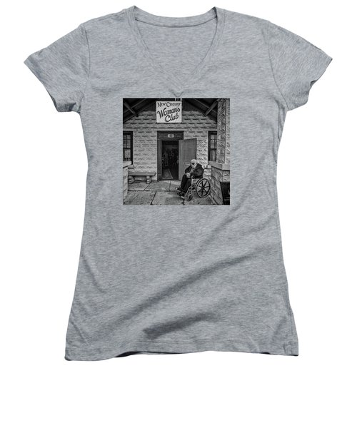 Women's V-Neck T-Shirt featuring the photograph Only The Lonely by Lewis Mann