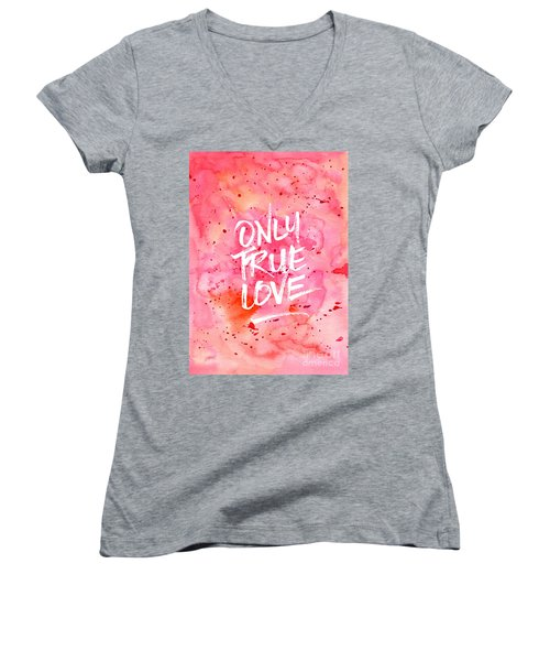 Only True Love Handpainted Abstract Watercolor Red Pink Orange Women's V-Neck (Athletic Fit)