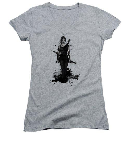 Women's V-Neck T-Shirt (Junior Cut) featuring the digital art Onna Bugeisha by Nicklas Gustafsson