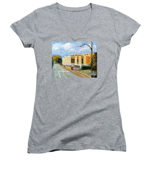 Women's V-Neck T-Shirt (Junior Cut) featuring the painting Onslow New Courthouse by Jim Phillips