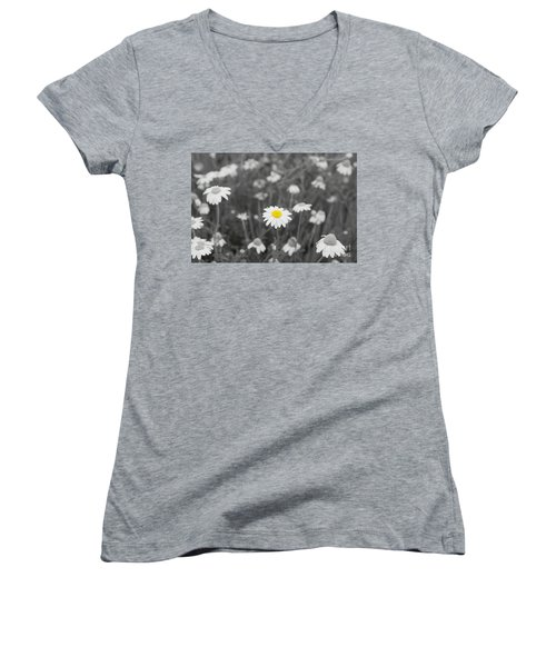 Women's V-Neck T-Shirt (Junior Cut) featuring the photograph Oopsy Daisy by Benanne Stiens