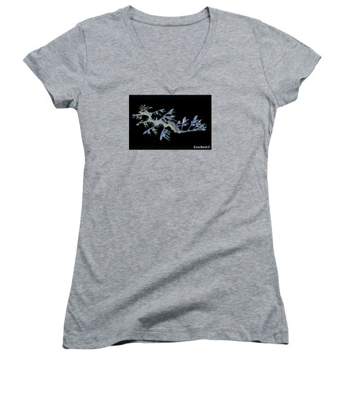 Women's V-Neck T-Shirt (Junior Cut) featuring the photograph Opalised Sea Dragon by Gary Crockett