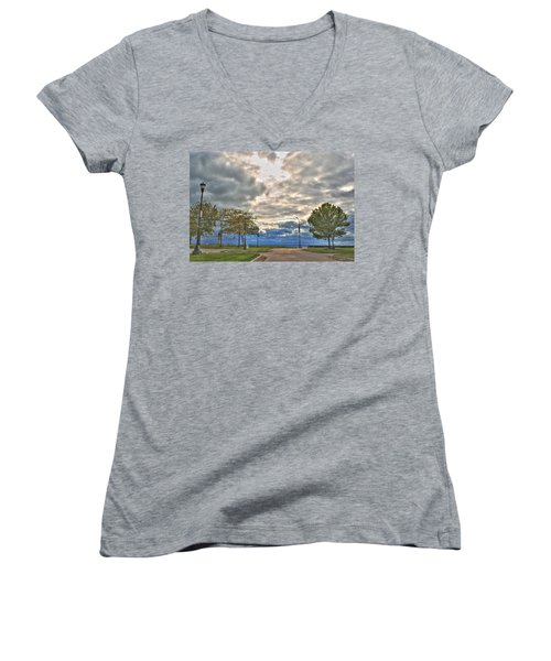 Women's V-Neck T-Shirt (Junior Cut) featuring the photograph Open Heavens  by Michael Frank Jr