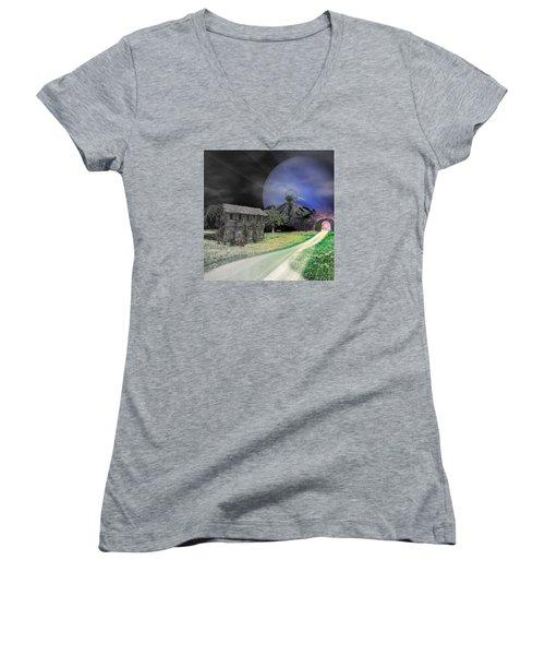 Open Portal Women's V-Neck T-Shirt (Junior Cut) by Ally  White