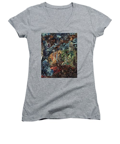 Opening Of The Fifth Seal After El Greco Women's V-Neck T-Shirt (Junior Cut) by Joshua Redman