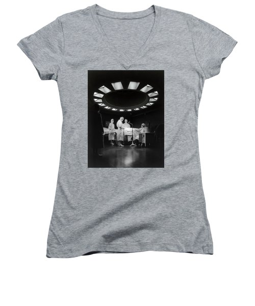 Women's V-Neck T-Shirt (Junior Cut) featuring the photograph Operating Room Theater 1933 by Daniel Hagerman