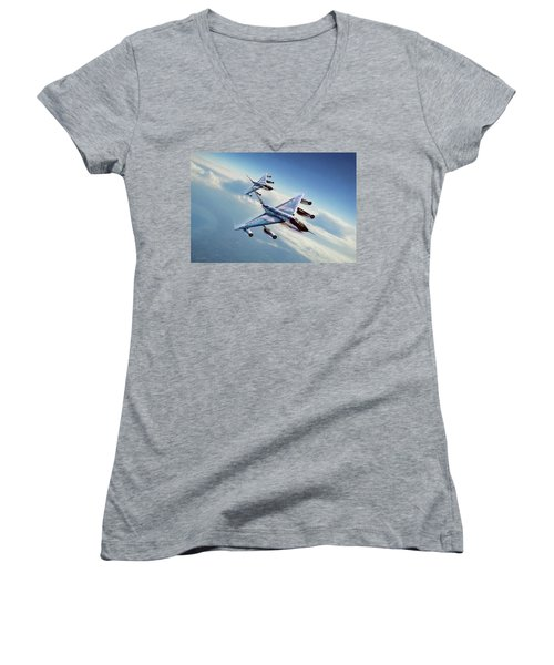 Women's V-Neck T-Shirt (Junior Cut) featuring the digital art Operation Heat Rise by Peter Chilelli