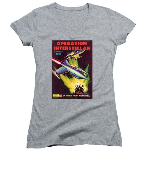 Women's V-Neck T-Shirt (Junior Cut) featuring the painting Operation Interstellar by Malcolm Smith