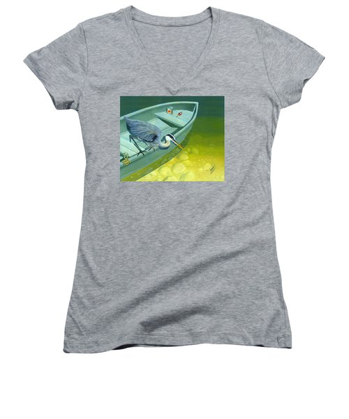 Women's V-Neck T-Shirt (Junior Cut) featuring the painting Opportunity-the Great Blue Heron by Gary Giacomelli