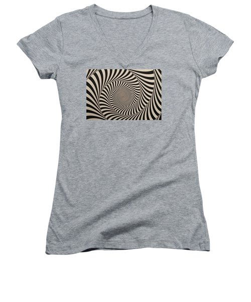 Optical Illusion Beige Swirl Women's V-Neck T-Shirt