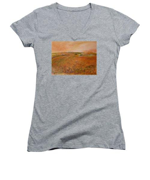 Orange Afternoon  Women's V-Neck T-Shirt (Junior Cut) by Helen Campbell