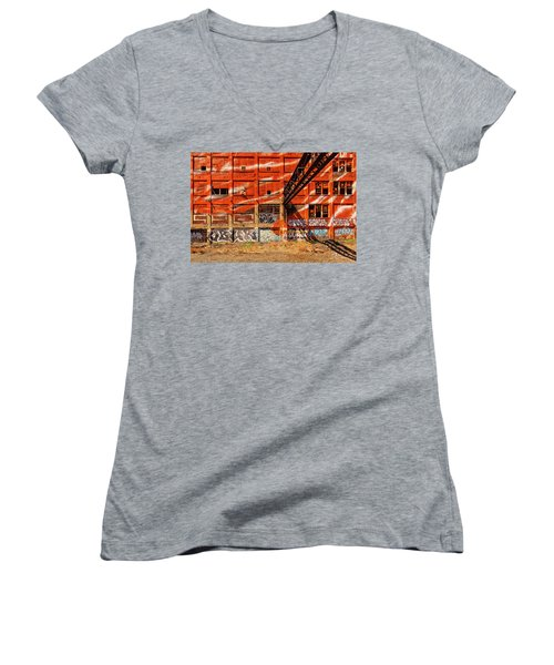 Orange  Women's V-Neck T-Shirt