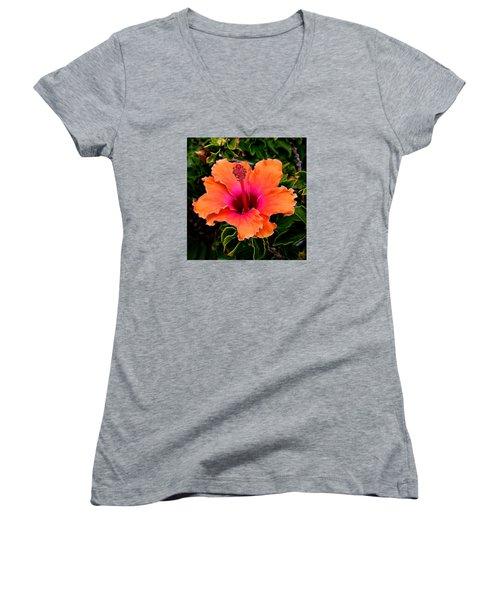 Orange And Pink Hibiscus 2 Women's V-Neck