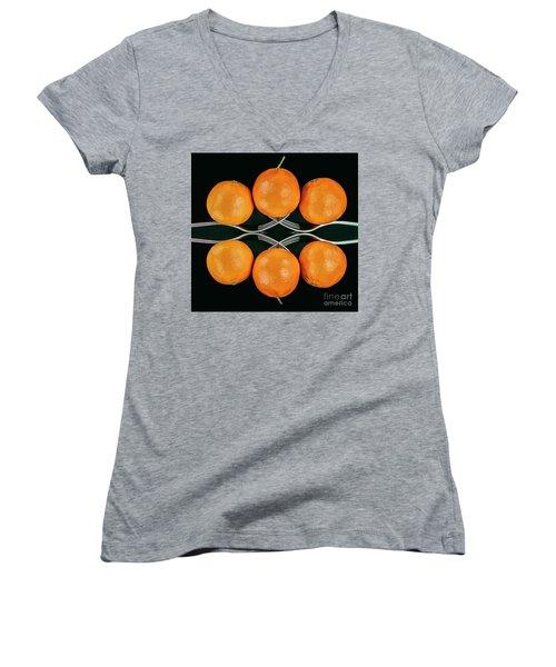 Orange Balance Women's V-Neck T-Shirt (Junior Cut) by Shirley Mangini