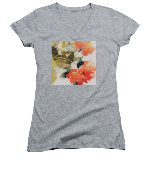 Women's V-Neck T-Shirt (Junior Cut) featuring the painting Orange Blossom Special by Elizabeth Carr