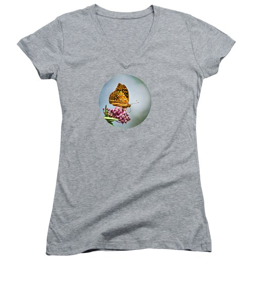Women's V-Neck T-Shirt featuring the photograph Orange Butterfly by Christina Rollo