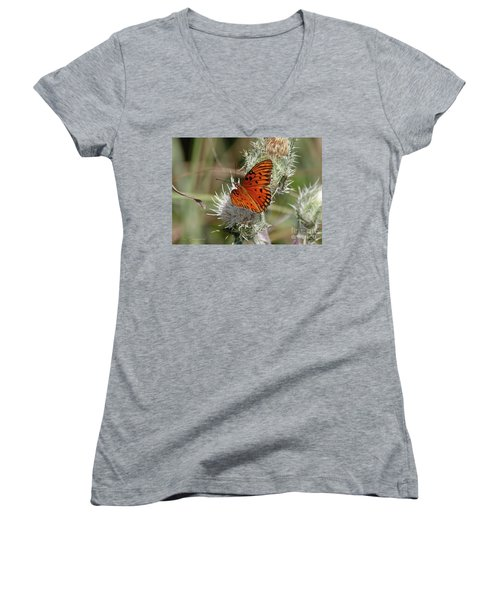 Orange Butterfly Women's V-Neck (Athletic Fit)