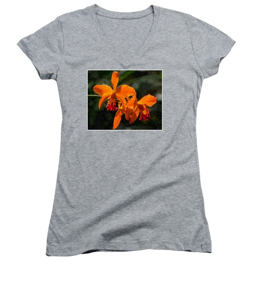 Women's V-Neck T-Shirt (Junior Cut) featuring the digital art Orange Cattleya Orchid by Kai Saarto
