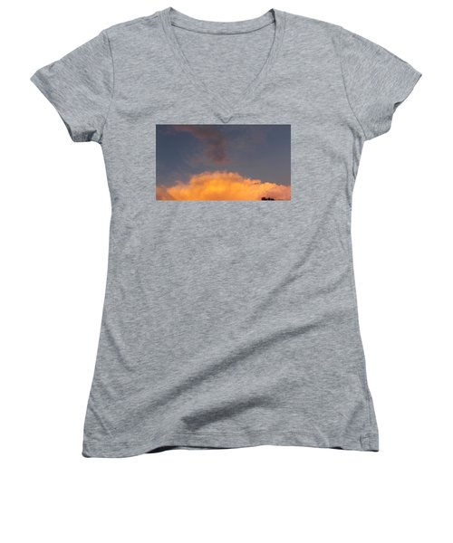 Orange Cloud With Grey Puffs Women's V-Neck T-Shirt (Junior Cut) by Don Koester