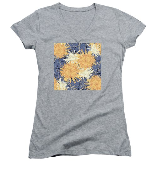 Orange Cobwebs Pattern Women's V-Neck