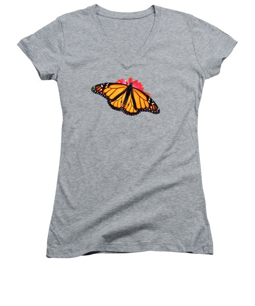 Women's V-Neck T-Shirt featuring the photograph Orange Drift Monarch Butterfly by Christina Rollo