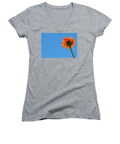 Women's V-Neck T-Shirt (Junior Cut) featuring the photograph Orange Flower On Blue Sky by Debbie Karnes