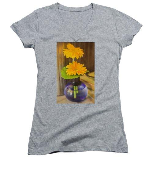 Orange Flowers Blue Vase Women's V-Neck T-Shirt