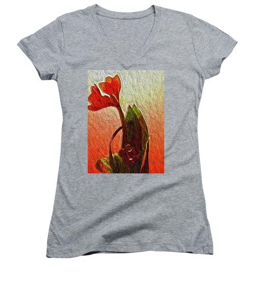 Orange Flowers Women's V-Neck
