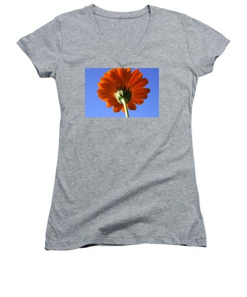 Orange Gerbera Flower Women's V-Neck T-Shirt (Junior Cut) by Ralph A  Ledergerber-Photography